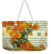 October's Child Birthday Card With Text And Marigolds Weekender Tote Bag
