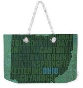 Ohio State Word Art On Canvas Weekender Tote Bag