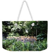Oil Painting - A Number Of Flamingos Surrounded By Greenery In Their Enclosure  Weekender Tote Bag