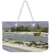 Oil Painting - Front Part Of School Bus In A Mountain Stream On The Outskirts Of Srinagar Weekender Tote Bag