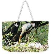 Oil Painting - Mama Stork Feeding Young Weekender Tote Bag