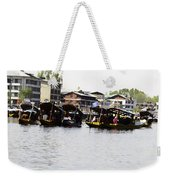 Oil Painting - Multiple Families Relaxing In Multiple Shikaras In The Dal Lake Weekender Tote Bag