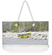 Oil Painting - School Bus In A Mountain Stream On The Outskirts Of Srinagar Weekender Tote Bag