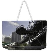 Oil Painting - The Bayfront Bridge And Helix Bridge In Singapore Weekender Tote Bag