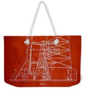 Oil Well Rig Patent From 1917- Red Weekender Tote Bag