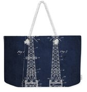 Oil Well Rig Patent From 1927 - Navy Blue Weekender Tote Bag