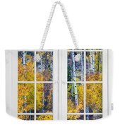 Old 16 Pane White Window Colorful Fall Aspen View  Weekender Tote Bag