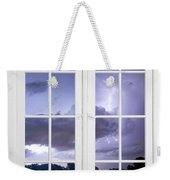 Old 16 Pane White Window Stormy Lightning Lake View Weekender Tote Bag