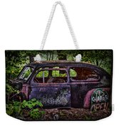 Old Abandoned Car In The Woods Weekender Tote Bag