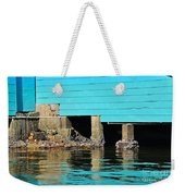 Old Aqua Boat Shed With Aqua Reflections Weekender Tote Bag