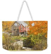 Old Barn And Dam In Autunm Vienna Maine Weekender Tote Bag