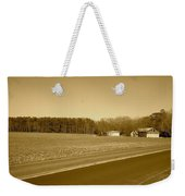 Old Barn And Farm Field In Sepia Weekender Tote Bag