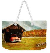 Old Barn And Red Truck Weekender Tote Bag