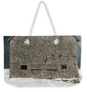 Old Barn In A Snow Storm Weekender Tote Bag by Edward Fielding
