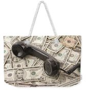 Old Black Phone Receiver On Money Background Weekender Tote Bag