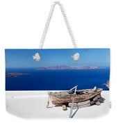 Old Boat On The Roof Of The Building On Santorini Greece Weekender Tote Bag