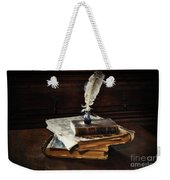 Old Books And A Quill Weekender Tote Bag by Mary Machare