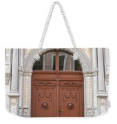 Old Entrance Door With Lionheads Weekender Tote Bag