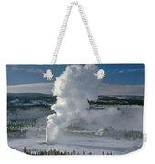 3m09133-01-old Faithful Geyser In Winter - V Weekender Tote Bag