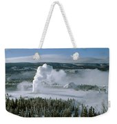 3m09132-01-old Faithful Geyser In Winter Weekender Tote Bag