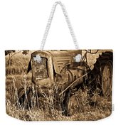 Old Farm Tractor In Sepia 1 Weekender Tote Bag