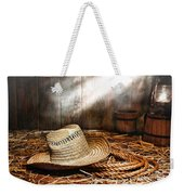 Old Farmer Hat And Rope Weekender Tote Bag