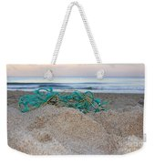 Old Fishing Net On Beach Weekender Tote Bag