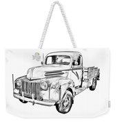 Old Flat Bed Ford Work Truck Illustration Weekender Tote Bag