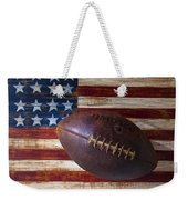 Old Football On American Flag Weekender Tote Bag