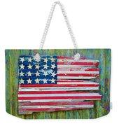 Old Glory In Wood Impression Weekender Tote Bag