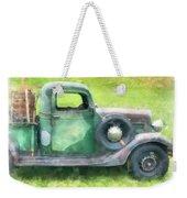 Old Green Pickup Truck Weekender Tote Bag