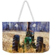 Old Green Tractor On The Farm Weekender Tote Bag