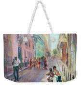 Old Havana Street Life - Sale - Large Scenic Cityscape Painting Weekender Tote Bag