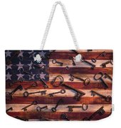 Old Keys On American Flag Weekender Tote Bag