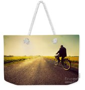 Old Man Riding A Bike To Sunny Sunset Sky Weekender Tote Bag