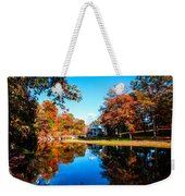 Old Mill House Pond In Autumn Fine Art Photograph Print With Vibrant Fall Colors Weekender Tote Bag