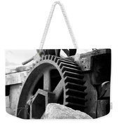 Old Mill Of Guilford Gears Black And White Weekender Tote Bag