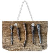 Old Nails On A Wooden Table Weekender Tote Bag