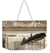 Old Papers And A Feather Weekender Tote Bag by Carol Leigh