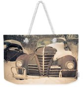 Old Plymouth Classic Car In The Snow Weekender Tote Bag