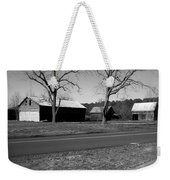 Old Red Barn In Black And White Weekender Tote Bag