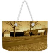 Old Red Barn In Sepia Weekender Tote Bag