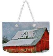 Old Red Barn In Winter Weekender Tote Bag