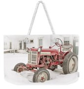 Old Red Tractor In The Snow Weekender Tote Bag