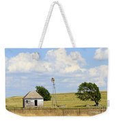 Old Rush County Farmhouse With Windmill Weekender Tote Bag