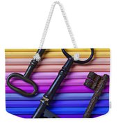 Old Skeleton Keys On Rows Of Colored Pencils Weekender Tote Bag