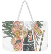 Old Time Santa With Teddy Weekender Tote Bag