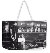 Old Train Station Black And White Weekender Tote Bag