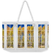 Old Triple16 Pane White Window Colorful Autumn Aspen Forest View Weekender Tote Bag