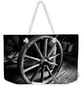 Old Wagon Wheel Black And White Weekender Tote Bag